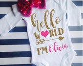 Hello World Bodysuit and bow Girl Newborn New Glitter Shirt Birth Announcement Bodysuit New Baby Gift Coming Home Outfit Baby Shower Gift