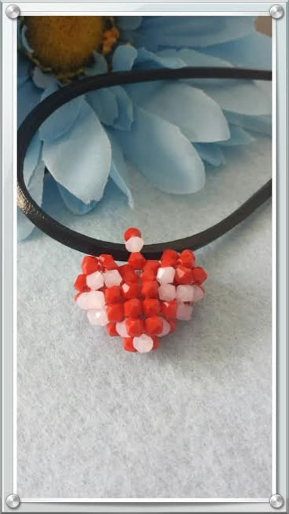 Valentines day red and pink heart pendant with leather cord  Free shipping!