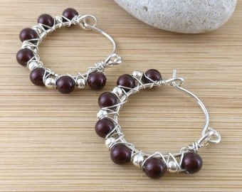 Crandberry Pearl Beaded Hoops Sterling Silver Beads Wire Wrapped Red Earrings Burgundy Pearl Earrings Swarovski Pearl Hoops