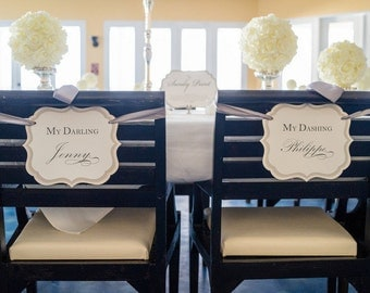 Wedding Chair Signs My Dashing Husband My Darling Wife Luxury Three Layered Design for Bride and Groom Head Table Chair Decoration