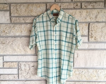 Vintage 70s Plaid Shirt /Collared Shirt King Roads Shop by Sears The Mens Store / Size Large