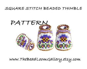 Beaded Thimble with Swarovski Rivoli Top - Delica Beads PDF PATTERN - Square Stitch - Vol.44 - The Pansy Garden Thimble