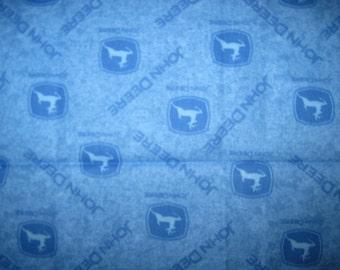 JOHN DEERE Fabric, Cotton Fabric, Fat Quarter, Blue, Logo, Toss Print, 17.5 X 21.5, Fq, john deere fq, john deere, blue john deere