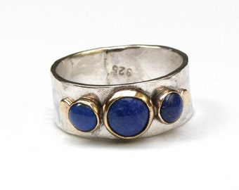 Blue Lapis Lazuli Gemestone Engagement Ring - 14k gold ring silver ring MADE TO ORDER. Lapis ring, gift for her, Gold ring, statement ring