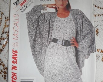 Vintage sewing pattern Disco Dress with Cocoon Jacket c1970s  size 10 12 14