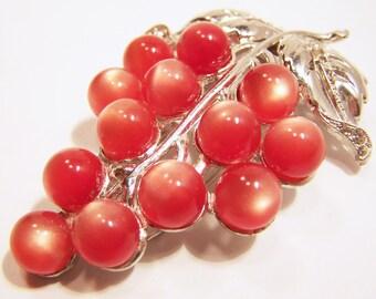 Coral Moonglow Lucite Grape Bunch Fur Dress Clip Rhinestones Mid Century Jewelry 1015DG