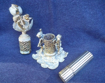 Vintage Lipstick Holder with Cherubs and Flowers