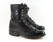 ankle cowboy boots womens 7.5 B M black Laredo vintage western leather ropers granny paddock