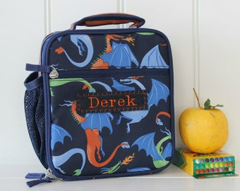 Lunch Bag With Monogram Upcycled Pottery Barn Classic  -- Navy Dragon