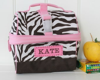 Lunch Bag With Monogram Pottery Barn Retro Style -- Brown/Pink Zebra