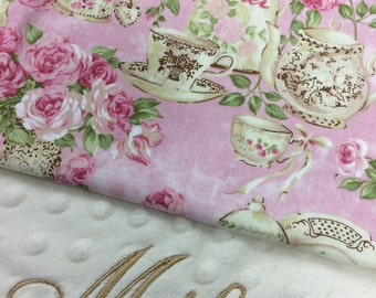 Pink Floral Blanket, Teacup Cotton Baby Blanket, Personalized Baby blanket, Monogrammed Baby Blanket, Pink Flower Blanket