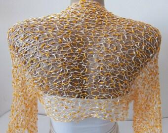 Knit Milk White and Yellow Bridal Bolero Shrug Sleeves Wrap, Wedding Bolero in One size M-L Weddings Bridal Bridesmaid Women Cover Up