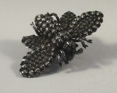 Antique silver victorian bee or bug 1800s insect brooch or pin
