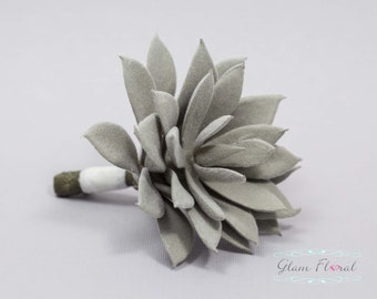 Grey Succulent Boutonniere.  Wedding Groom's Flower- Prom Bout- Real Touch Boutonniere- pin on flower button hole.  fuzzy succulent