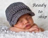 Baby Boy Hats - READY TO SHIP - Baby Hats - Newborn Hat -Crochet Hats - Photo Props -Photography Props -Coming Home Outfit -Newborn Boy Hat