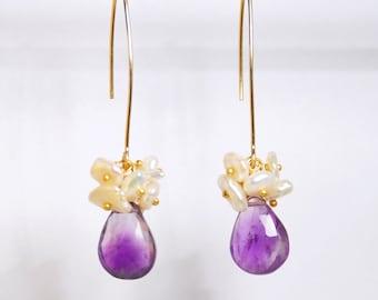 Amethyst earring, freshwater earrings, gold filled ear wires