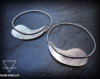 Boucles d 'oreille ,plaqué argent # feather earrings brass silver plated