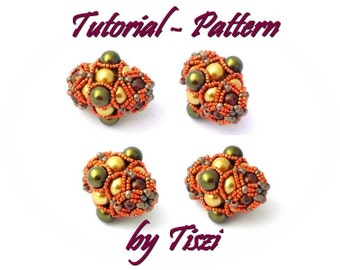 Beading pattern, tutorial for beaded bead Pearlmania, step by step instructions, PDF pattern
