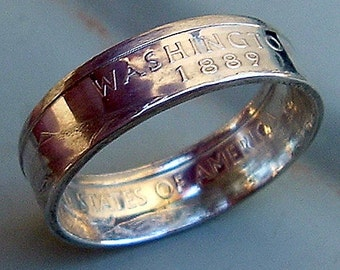2007 Silver Washington State Quarter Coin Ring (Available in sizes 5 through 9)