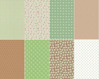 Riley Blake Lori Holt Calico Days Quilt Fabric Fat 8th Panel Nutmeg