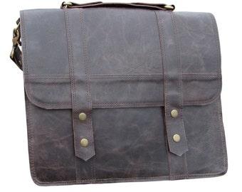 """Messenger Bag, Leather Laptop Bag, Satchel, 15"""" Macbook Pro Bag, Leather Shoulder Bag, Briefcase in Chestnut Brown MB26I"""
