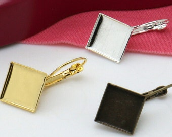 40 Earring Blanks- Brass Silver Plated/ Antique Bronze/ Gold Plated Lever-Back Ear Wire W/ 12mm Square Bezel Setting Wholesale