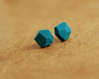 Emerald studs, diamond shape studs, Geometric post earrings, minimalism, everyday earrings