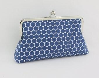 Blue Polka Dots Bridesmaid Clutch / Wedding Gift / Bridal Clutch - the Florence Style Clutch