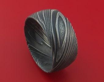 Kuro Damascus Steel Ring Wide Wedding Band Genuine Craftsmanship Custom Made