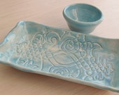 Handmade Pottery Serving Tray and Dipping Bowl  Sushi Plate Ceramic Dining and Serving Platter Mottled Turquoise Glaze Party Plate
