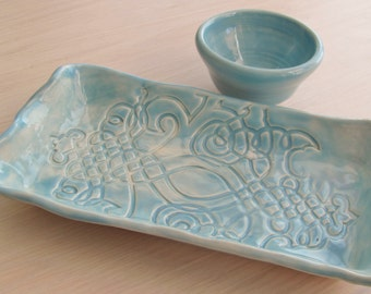 Ceramic Tray Kitchen and Dining Ceramic Pottery Tray  Serving Tray Serving Dish Ceramic Platter Wedding Gift  Turquoise Glaze Party Plate