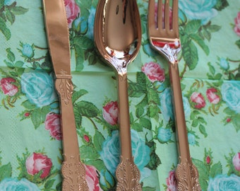 192 ASSORTED FAUX COPPER Cutlery Plastic Forks Spoons Knives Tableware Rose Gold Vintage Style Wedding Shower Tea Party Shabby Chic Floral