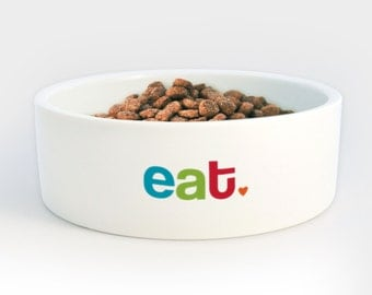 Eat Food Bowl for Dogs Cats Pets - Heavy Ceramic Bowl with Eat in Bright Colorful Letters