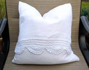 Linen Pillow Cover - 100% white or brown linen pillow cover crocheted detail, envelope enclosure, soft and lux for a shabby chic design
