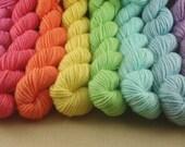 Mini Skeins Pastel Rainbow - Set of 8 - Hand Dyed DK Weight Yarn - 100% Fine Organic Non Superwash Merino Wool