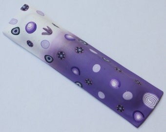 Special Mezuzah case in purple and millefiori slices, polymer clay