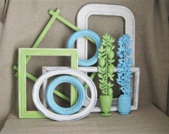 Coastal Cottage Wall Decor / Beach House 9 Piece Wall Gallery / Soft Green. Beachy Blue and White Cloud Frame Collection