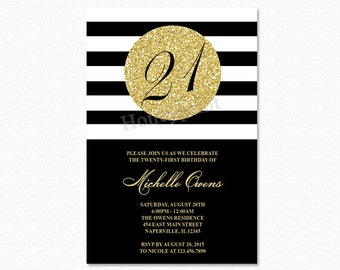 Gold 21st Birthday Party Invitation, Black and White Stripes, 21st Birthday Invitation, Milestone Birthday, Printable or Printed