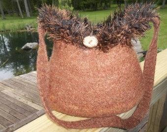 11-1019 Handknitted felted wool purse,tote,handbag fs