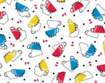 NEW Mary Engelbreit Tea Time White Tossed Teacups fabric - 1 yard