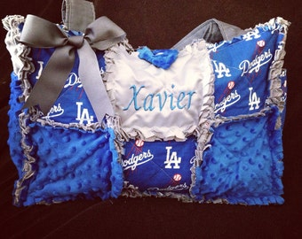 Custom Made Modern Chic Rag Quilted Diaper Bag with Dodger Blue Baseball any college sports fabric available