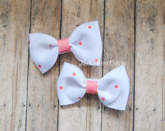 White with coral does...set of 2 mini bows....pigtails