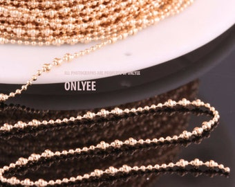 5yd-2mm(Ball),1.2mm(Small Ball)Bright Gold plated Brass Modify Ball Chain For necklace chain, link chains (N141G)