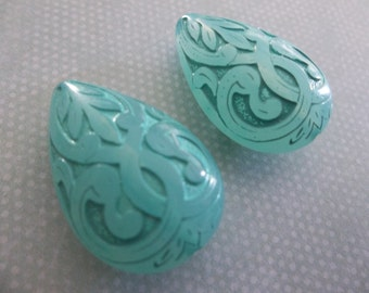 Green Aqua Teardrop Beads - 27X18mm Pear Shape Beads - Mediterranean Design - Lucite from Germany - Qty 2