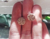 Rose Gold Champagne Druzy Quartz Crystal Stud Earrings
