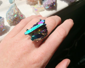 Titanium Rainbow Aura Quartz Crystal Cluster Sterling Silve Ring - Size 6