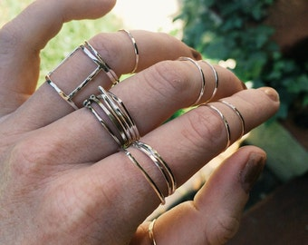 Textured Sterling Silver Gold Knuckle Rings Stacking Rings - Set of 3