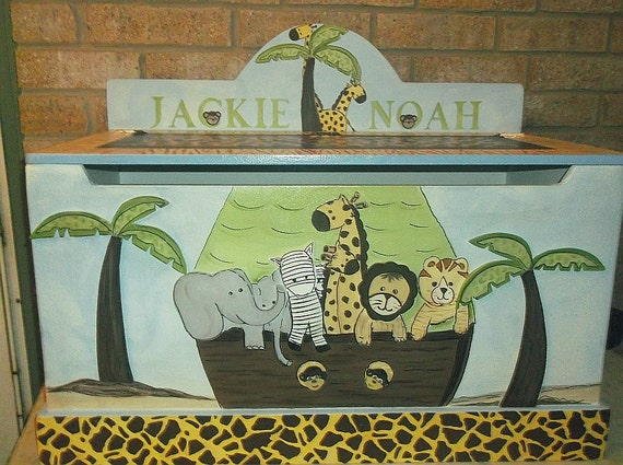Jungle Toy Box Toy Chest Safari Train Zoo Animals Bench