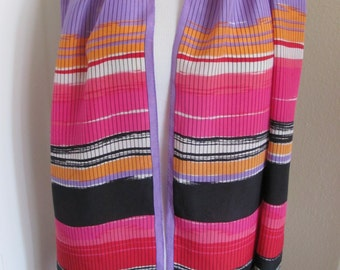 "Adrienne Vittadini // Beautiful Pink Striped Silk Scarf // 15"" x 62"" Long"
