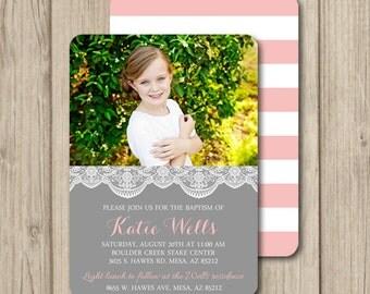 LDS BAPTISM INVITATION ~ lds girl baptism invitation ~ Gray Pink Lace 5x7 Double Sided ~ BI2
